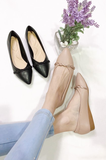 Chixxie Embellished Plaited Pointed Toe Flats in Beige