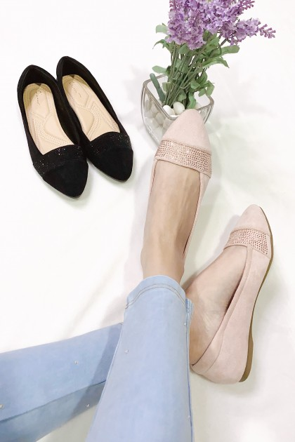 Chixxie Embellished Lined Pointed Toe Flats in Pink