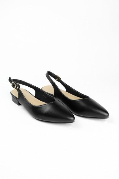 Chixxie Slingback V-Cut Pointed Toe Flats in Black