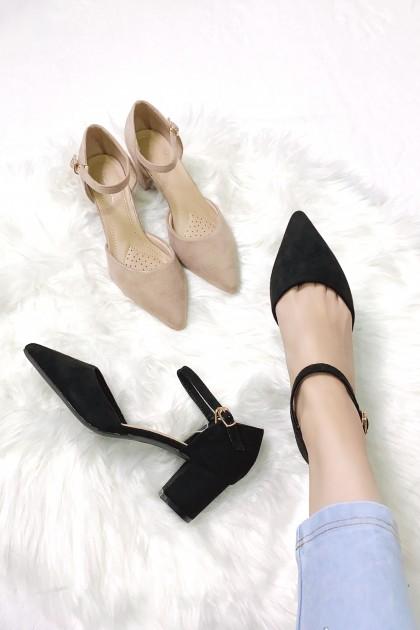 Chixxie Suede Ankle Strap Heels in Beige