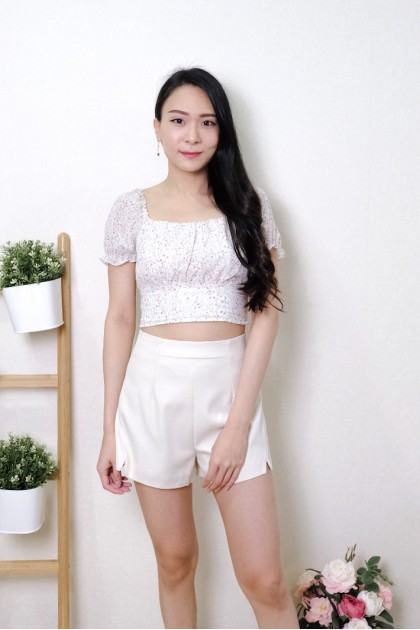 Chixxie Camila Floral Ribbon Crop Top in White