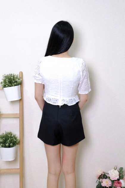Chixxie Harper Lace Ruffle Hem Crop Top in White