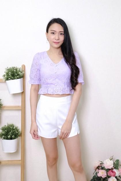 Chixxie Harper Lace Ruffle Hem Crop Top in Lilac