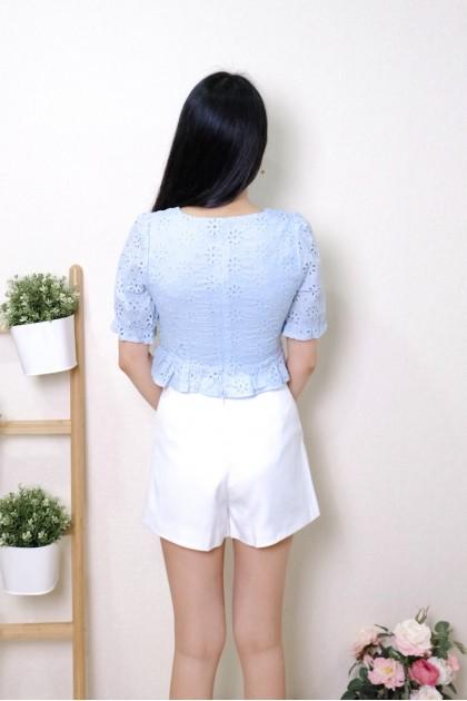 Chixxie Harper Lace Ruffle Hem Crop Top in Blue