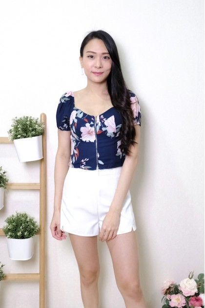 Chixxie Ruby Floral Bustier Crop Top in Navy