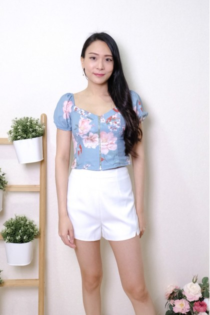 Chixxie Ruby Floral Bustier Crop Top in Blue