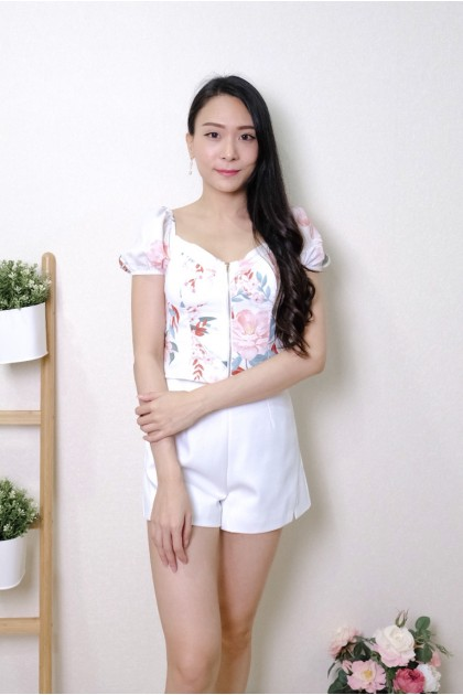 Chixxie Ruby Floral Bustier Crop Top in White