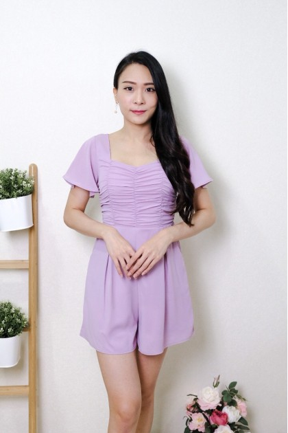 Chixxie Cassidy Ruched Sweetheart Playsuit in Lilac