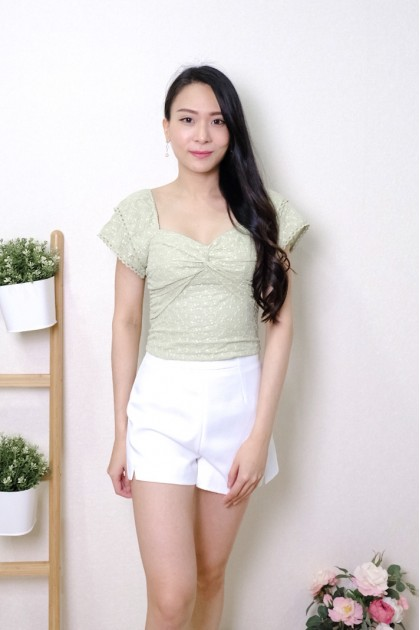 Chixxie Anna Lace Knot Top in Green
