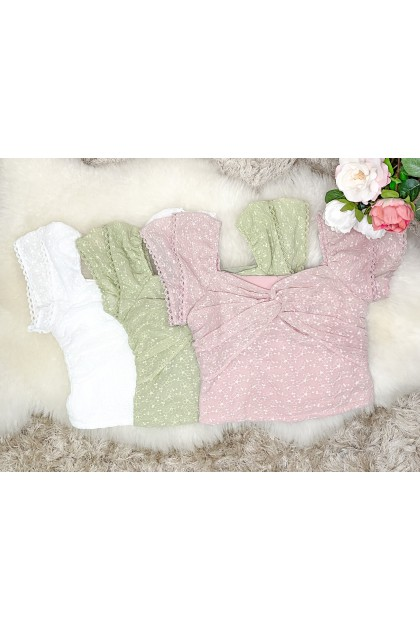 Chixxie Anna Lace Knot Top in Pink