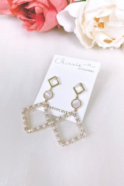 Silver Diamond Cut Drop Earring