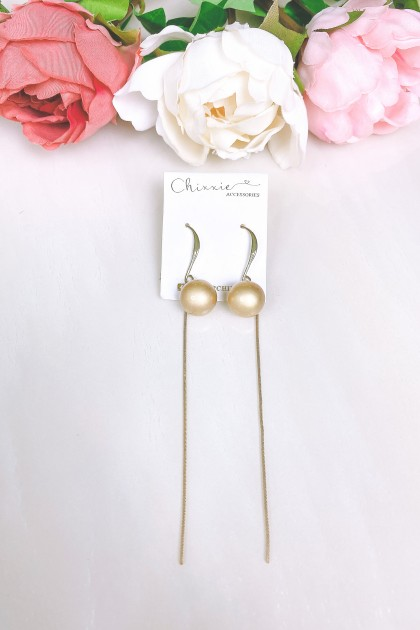 Gold Bead Chain Drop Earring