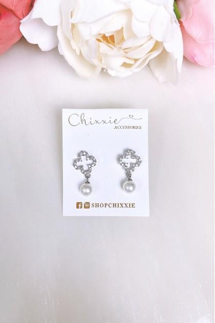 Silver Pearl Drop Diamante Earring