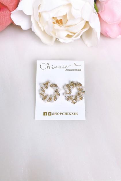 Gold Bead Circle Earring