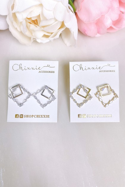 Diamante Mix Square Earring