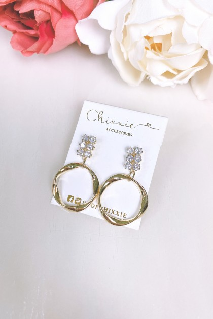 Gold Circle Drop Earring with Diamante