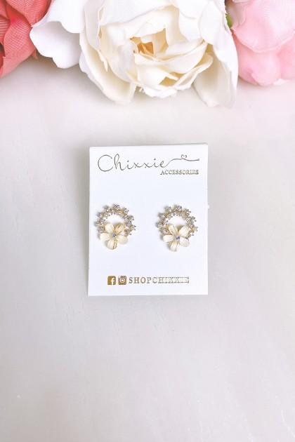 Gold Flower Diamante Pearl Earring