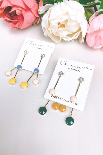 Round Colourful Drop Earring