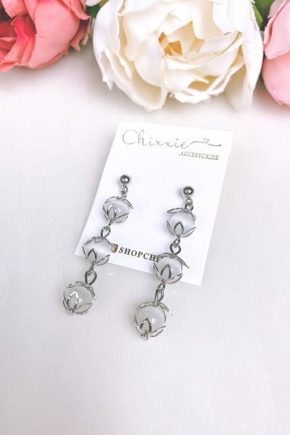 Silver Gradient Bead Drop Earring