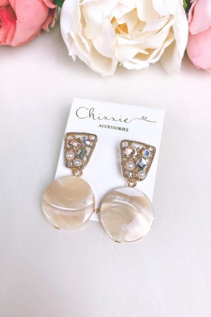 Diamante Marble Drop Earring