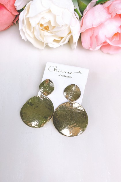Chrome Gold Plate Drop Earrings