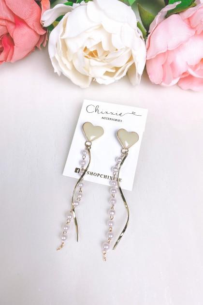 Jade Heart Pearl Swirl Drop Earrings