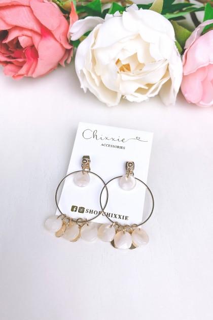 Gold Circle Marble Drop Earrings