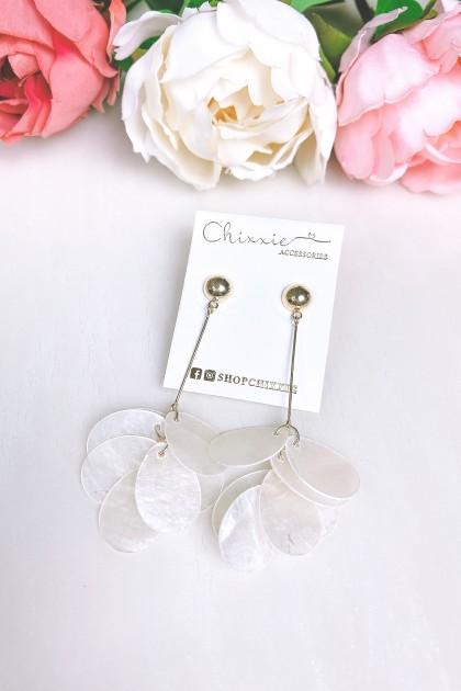 White Petal Drop Earrings