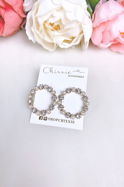 Gold Pearl and Diamante Circle Earrings