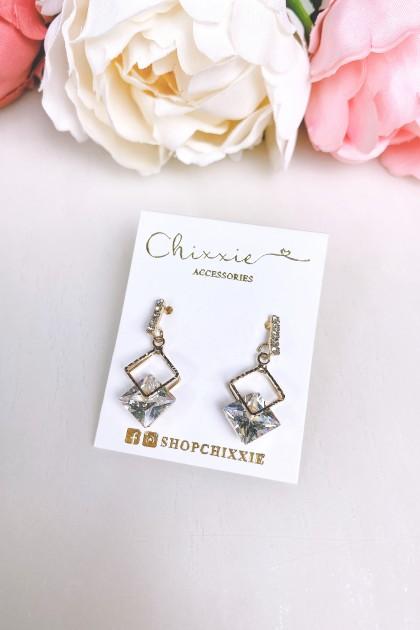 Gold Diamond Cut Diamante Drop Earrings