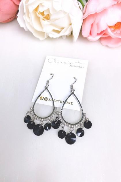 Silver Teardrop Cut Black Beads Drop Earrings