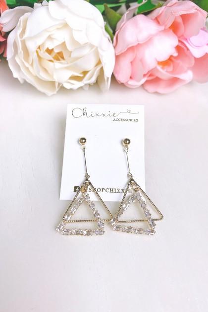 Gold Triangle Diamante Drop Earrings