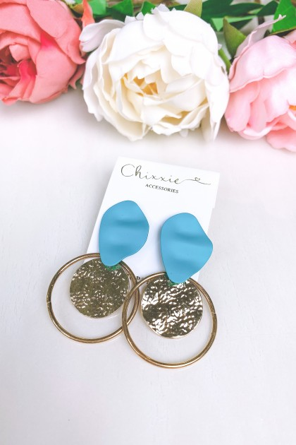 Gold Circle Textured Plated Drop Earrings