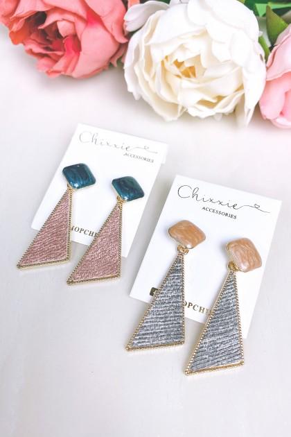 Colourful Stone Triangle Drop Earrings
