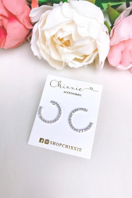 Silver C Cut Diamante Earrings