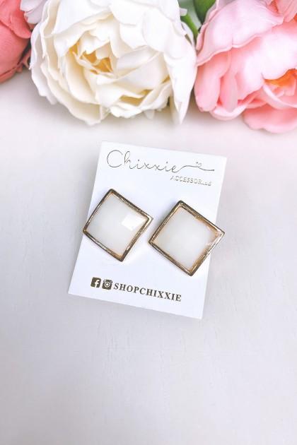 Gold Arcrylic Diamond Cut Earrings