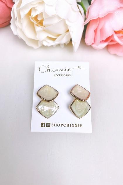 Gold Marble Diamond Cut Drop Earrings