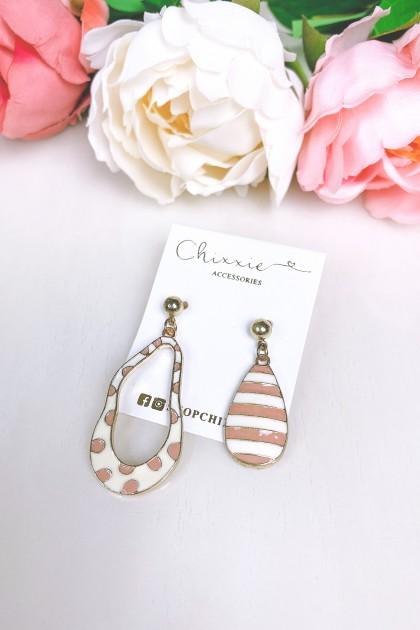 Polka Dot and Striped Drop Earrings