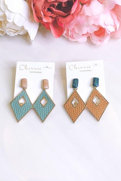 Colourful Triangle Cut Drop Earrings