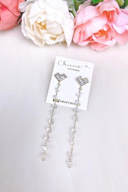 Silver Heart Crystal Beads Drop Earrings