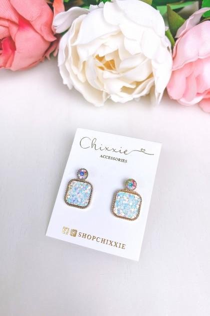 Square Rainbow Chrome Drop Earrings