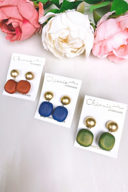 Gold Square Stone Drop Earrings