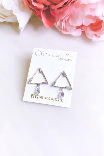 Silver Triangle Diamante Crystal Drop Earrings