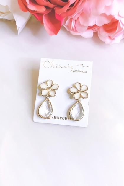 Gold Flower Crystal Drop Earrings