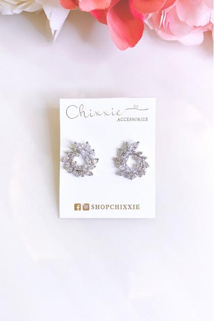 Silver Circle Leaf Earrings