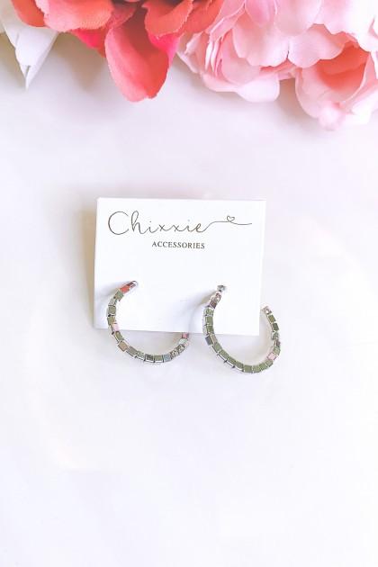Silver C Hoop Earrings