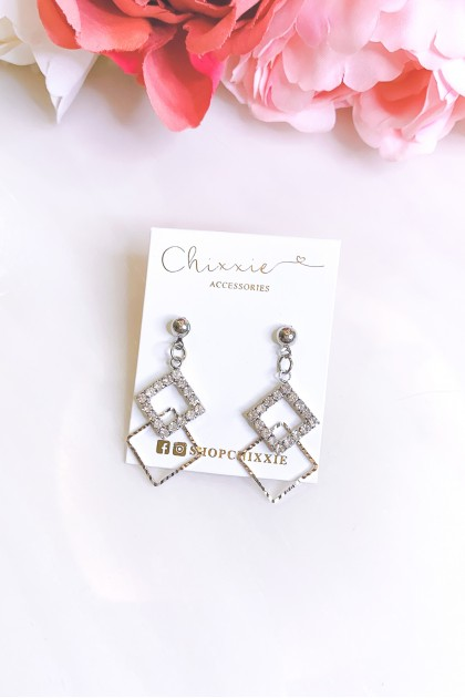 Silver Triangle Cut Diamante Drop Earrings