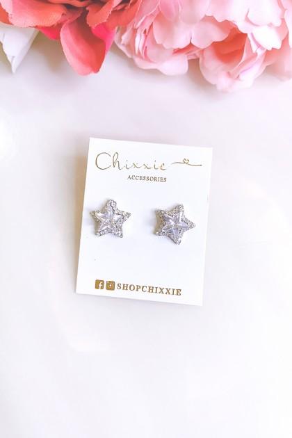 Silver Diamante Star Earrings