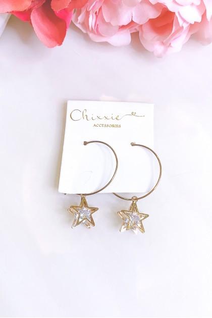 Gold Hoop Star Drop Earrings