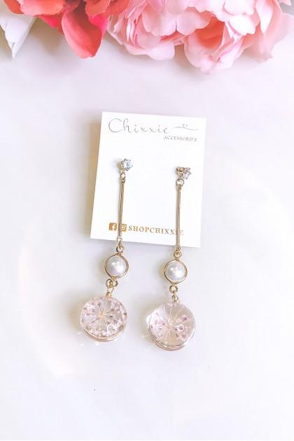Gold Crystal Flower Drop Earrings